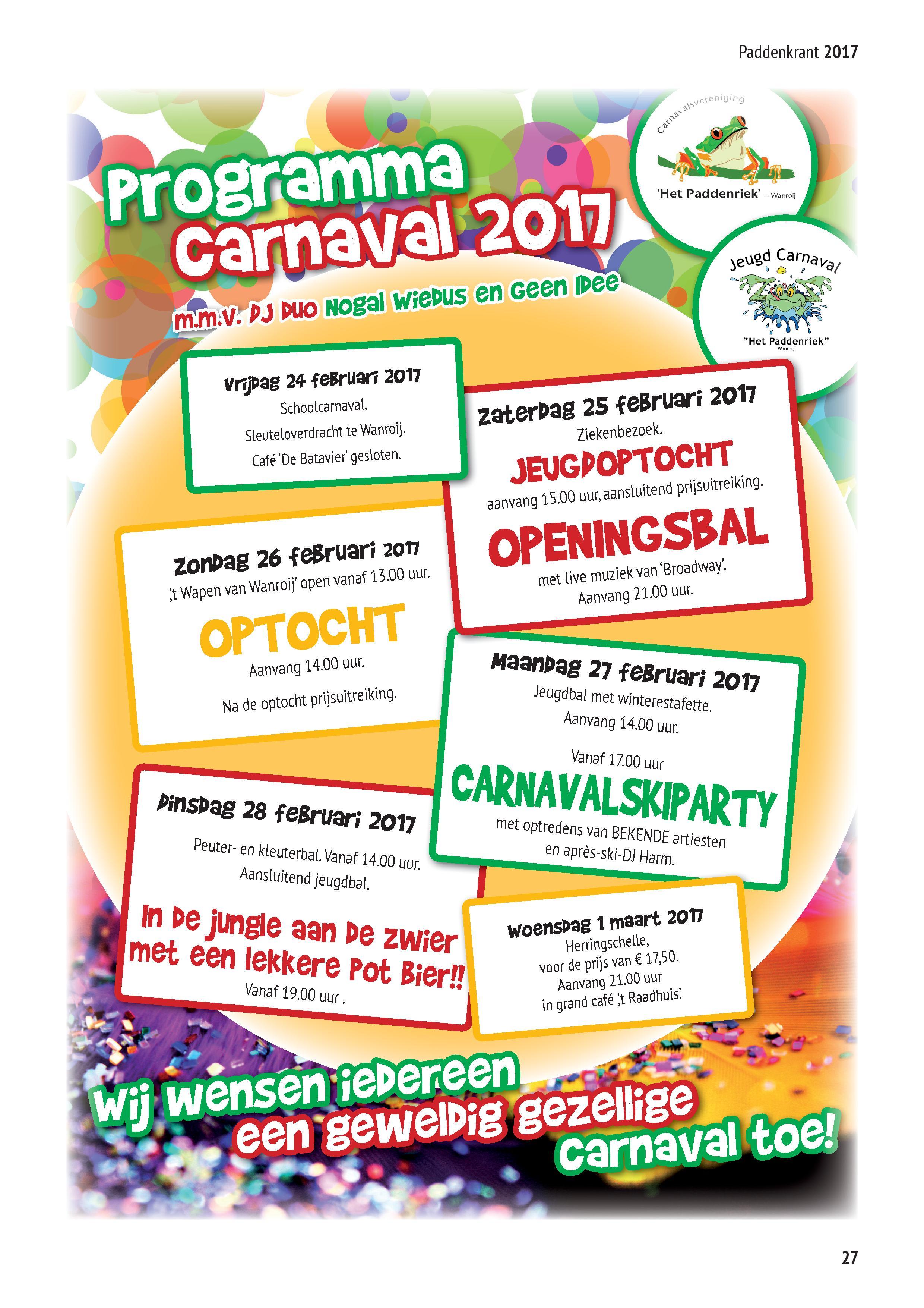 Programma Carnaval 2017